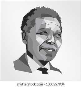 Surabaya Indonesia, Feb 2018: Nelson Mandela face head vector template illustration South African anti-apartheid revolutionary, political leader, and philanthropist