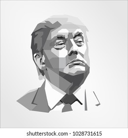 Surabaya Indonesia, Feb 2018: template vector Donald John President of the United States Before entering politics, businessman and television personality
