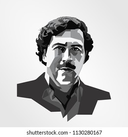 Surabaya Indonesia, Jul 2018: Pablo Emilio Escobar Colombian drug lord and narco terrorist. His cartel supplied an estimated 80% of the cocaine smuggled into the United The King of Cocaine
