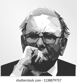 Surabaya Indonesia, Jul 2018: vector isolated stylized illustration face head Warren Edward Buffett American business magnate, investor, and philanthropist who serves as the chairman and CEO
