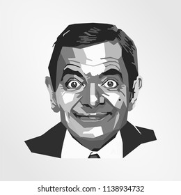 Surabaya Indonesia, Jul 2018: vector isolated stylized illustration face head Rowan Atkinson English actor, comedian, and screenwriter Mr. Bean