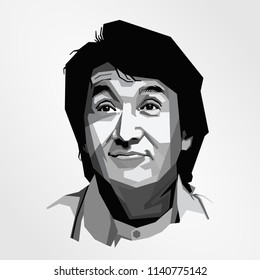 Surabaya Indonesia, Jul 2018: vector isolated stylized illustration face head Jackie Chan Hong Kong martial artist, actor, film director, producer, stuntman, and singer