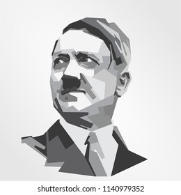 Surabaya Indonesia, Jul 2018: vector isolated stylized illustration face head Adolf Hitler German politician who was the leader Nazi