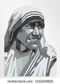 Surabaya Indonesia, Jul 2018: vector isolated stylized illustration face head Mother Teresa Roman Catholic Church Saint Calcutta Albanian-Indian Roman Catholic nun and missionary