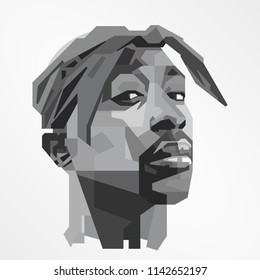 Surabaya Indonesia, Jul 2018: vector isolated stylized illustration face head Tupac Shakur American rapper and actor best-selling music