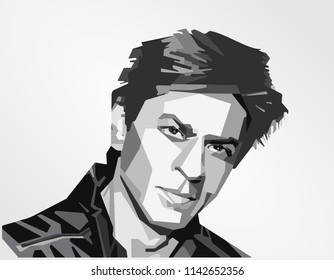 Surabaya Indonesia, Jul 2018: vector isolated stylized illustration face head Shah Rukh Khan Indian film actor, producer and television personality King of Bollywood
