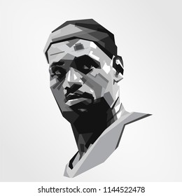Surabaya Indonesia, Jul 2018: vector isolated stylized illustration face head Lebron James American professional basketball player