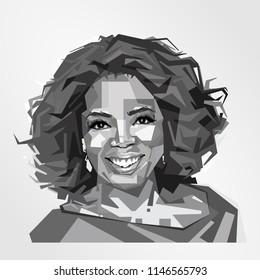 Surabaya Indonesia, Jul 2018: vector isolated stylized illustration face head Oprah Winfrey American media proprietor, talk show host, actress, producer, and philanthropist.