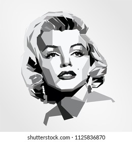 Surabaya Indonesia, Jun 2018: vector isolated stylized illustration face head Marilyn Monroe American actress, model, and singer blonde bombshell characters popular sex symbols attitudes
