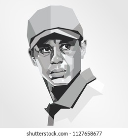 Surabaya Indonesia, Jun 2018: vector isolated stylized illustration face head Tiger Woods American professional golfer most successful golfers athletes world for several years