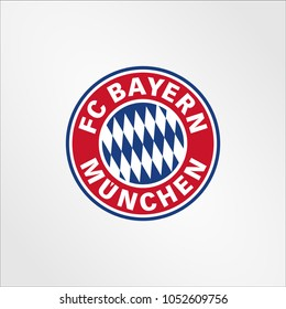 Surabaya Indonesia, Mar 2018: Bayern Munchen logo vector template professional, Bayern Munich, or FC Bayern, is a German sports club based in Munich, Bavaria, Germany