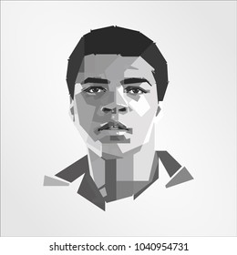 Surabaya Indonesia, Mar 2018: Muhammad Ali American professional boxer and activist vector isolated portrait stylized illustration