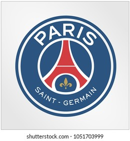 Surabaya Indonesia, Mar 2018: Paris Saint-Germain Football Club, commonly known as Paris Saint-Germain, French professional football club based in the city of Paris logo vector template