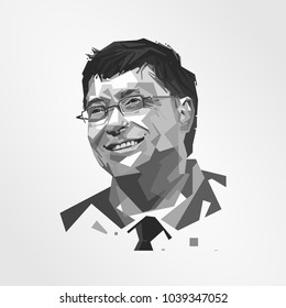 Surabaya Indonesia, Mar 2018: vector illustration Bill Gates  American business magnate, investor, author, philanthropist, humanitarian, and principal founder of the Microsoft