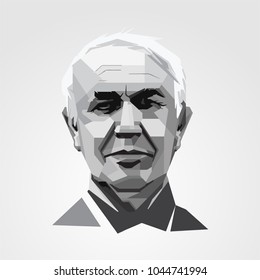 Surabaya Indonesia, Mar 2018: vector isolated stylized illustration Thomas Alva Edisonwas an American inventor and businessman described as America's greatest inventor