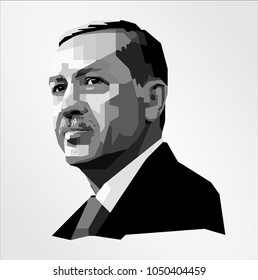 Surabaya Indonesia, Mar 2018 : vector isolated stylized illustration face head Recep Tayyip Erdogan Turkish politician serving President Turkey Prime Minister Ankara Mayor of Istanbul