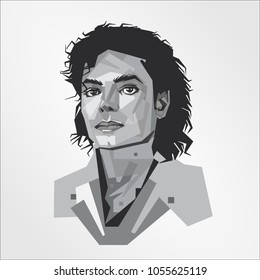 Surabaya Indonesia, Mar 2018: vector isolated portrait stylized illustration Michael Jackson American singer songwriter dancer King of Pop most popular entertainers in the world