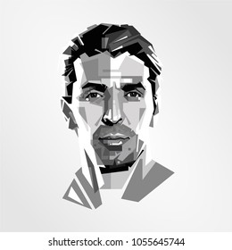 Surabaya Indonesia, Mar 2018: vector isolated stylized illustration Gianluigi Buffon  Italian professional footballer who plays as a goalkeeper for and captains Series A club Juventus