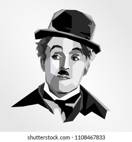 Surabaya Indonesia, Maret 2018: vector isolated stylized illustration face head Charles Chaplin English legendary comic actor filmmaker composer who rose to fame in the era of silent film