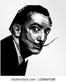 Surabaya Indonesia, Maret 2018: vector isolated stylized illustration face head Salvador Dalí prominent Spanish surrealist born in Figures, Catalonia, Spain