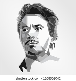 Surabaya Indonesia, Maret 2018: vector isolated stylized illustration face head Robert John Downey Jr. American actor and singer. His career has included critical and popular success in his youth