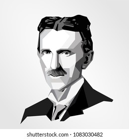 Surabaya Indonesia, May 2018: vector isolated stylized illustration face head Nikola Tesla Serbian-American inventor electrical engineer, physicist, electricity supply system