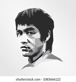 Surabaya Indonesia, May 2018: vector isolated stylized illustration face head Bruce Lee Hong Kong and American professionally actor film Jeet Kune Do, one of the Wushu or Kungfu styles