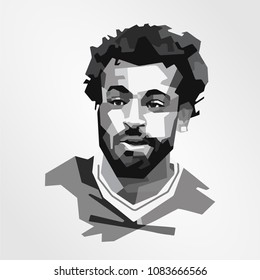 Surabaya Indonesia, May 2018: vector isolated stylized illustration face head Mohamed Salah Ghaly Egyptian professional footballer English club Liverpool and the Egyptian national team