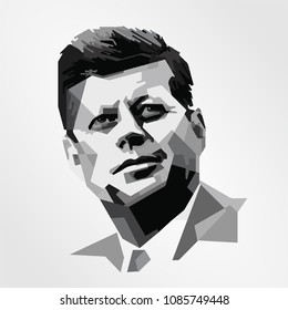 Surabaya Indonesia, May 2018: vector isolated stylized illustration face head John F Kennedy JFK  American politician 35th President of the United States