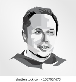 Surabaya Indonesia, May 2018: vector isolated stylized illustration face head Elon Musk American business magnate investor engineer founder, CEO, and lead designer product architect