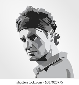 Surabaya Indonesia, May 2018: vector isolated portrait stylized illustration Roger Federer Swiss professional tennis player currently ranked world No. 2 in men's singles tennis