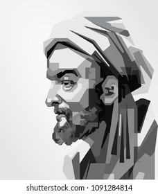 Surabaya Indonesia, May 2018: vector isolated stylized illustration face head Avicenna Persian physicians, astronomers, thinkers and writers of the Islamic Golden Age