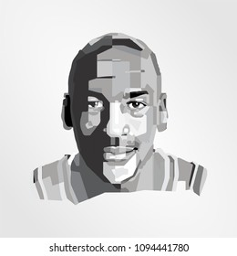 Surabaya Indonesia, May 2018: vector isolated stylized illustration face head Michael Jeffrey Jordan, MJ, is an American retired professional basketball player