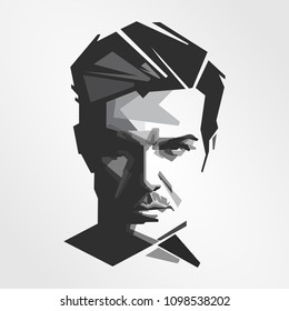 Surabaya Indonesia, May 2018: vector isolated stylized illustration face head David Beckham English retired professional footballer