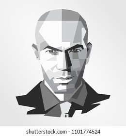 Surabaya Indonesia, May 2018: vector isolated stylized illustration face head Zinedine Zidane French retired professional footballer and current manager of Real Madrid