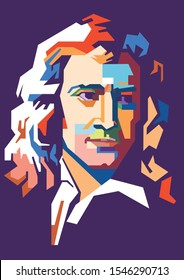 Surabaya Indonesia October-31-2019 Illustration art style of Isaac Newton was an English physicist and mathematician famous for his laws of physics.