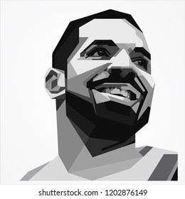 Surabaya Indonesia, Okt 2018: vector isolated stylized illustration face head Drake Canadian rapper, singer, songwriter, record producer, actor, and entrepreneur