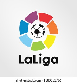Surabaya Indonesia, Sep 2018: logo sign template vector Liga de Futbol Profesional (LFP), commonly known in English as La Liga top professional football division of the Spanish football league
