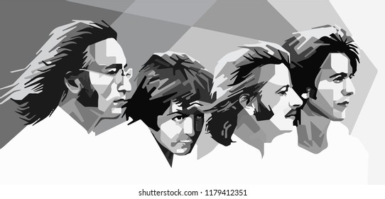 Surabaya Indonesia, Sep 2018: vector isolated stylized illustration face head The Beatles with instruments, George Harrison, John Lennon, Paul McCartney and Ringo Starr