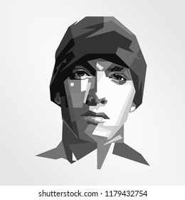 Surabaya Indonesia, Sep 2018: vector isolated stylized illustration face head Eminem artist American rapper, songwriter, record producer, record executive, and actor