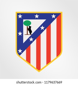Surabaya Indonesia, Sep 2018: Vector Template illustration of Atletico Madrid logo professional football club in Spain