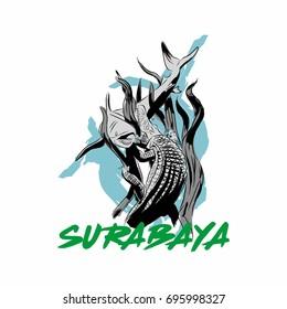Surabaya an Indonesian landmark with shark and crocodile statue