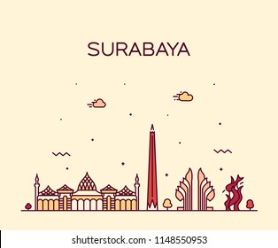 Surabaya skyline,  East Java, Indonesia. Trendy vector illustration, linear style