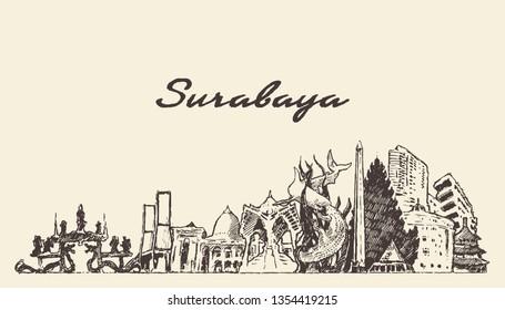 Surabaya skyline, East Java, Indonesia, hand drawn vector illustration, sketch