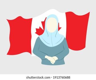 Surakarta, Indonesia - 02 10 2021: Massive Islamophobic Events Happening in Canada