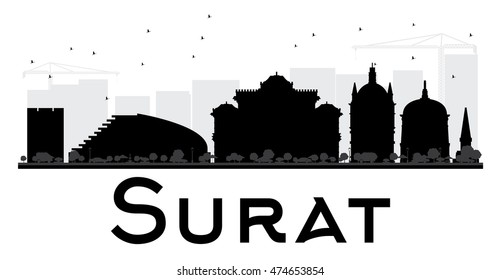 Surat City skyline black and white silhouette. Vector illustration. Simple flat concept for tourism presentation, banner, placard or web site. Business travel concept. Cityscape with landmarks