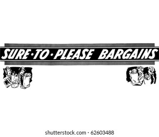 Sure To Please Bargains - Ad Header - Retro Clipart