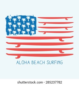 Surf america flag typography, t-shirt graphics, vectors, sport