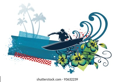 surf banner with surfer flowers and wave
