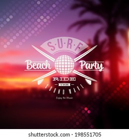Surf beach party type sign against a tropical sundown defocused background